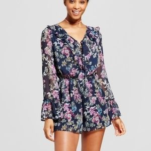 Floral Ruffled Lace Up Long Sleeve Romper
